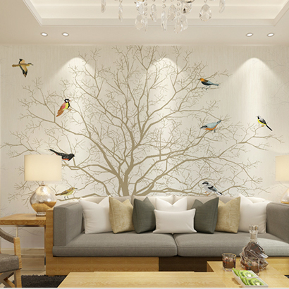 Large Mural Photo Wallpaper Waterproof Living Room TV Sofa Background Wall Decor Flower Bird Tree Murals 3D papel de pared фен bbk bhd0800 компакт темно синий