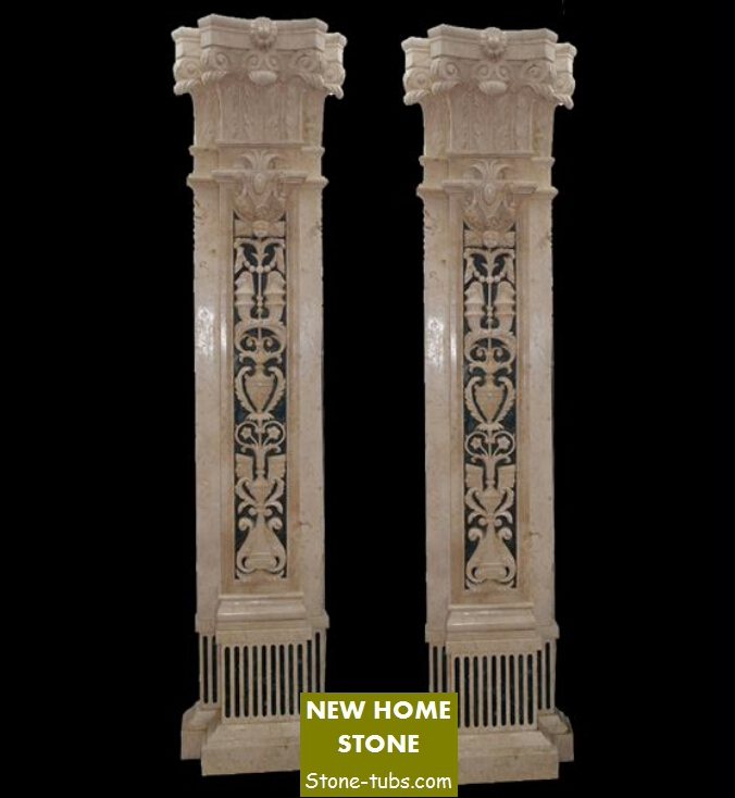 Decorative Columns Interior Innovative Marble Carved Hollow Out Carved Stone Columns Natural