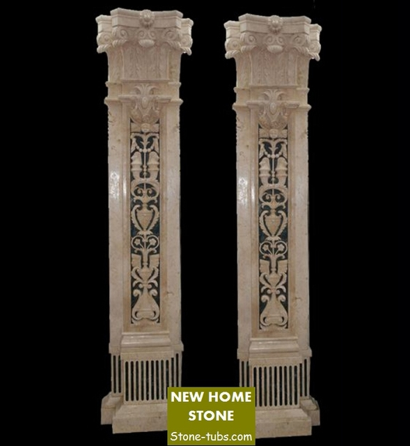 Decorative Columns Interior Innovative Marble Carved Hollow Out Carved  Stone Columns Natural Marble Column Hollow Out