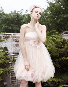 Beautiful  A Line Short Scalloped Sleeveless Light Pink Flowers Cheap Homecoming Prom Party Dresses