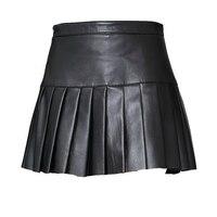 Svadilfari New Spring 2018 Fashion Women Ladies Black Ball Gown Ruffle Pleasted Genuine Leather Skirt Female 3XL Slim Skirts