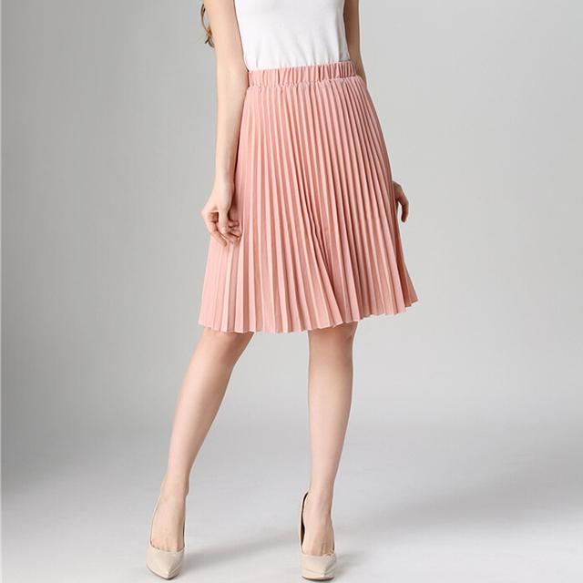 Spring Summer Women Pleated Skirt High Waist Elastic Waist Skirts Knee Length