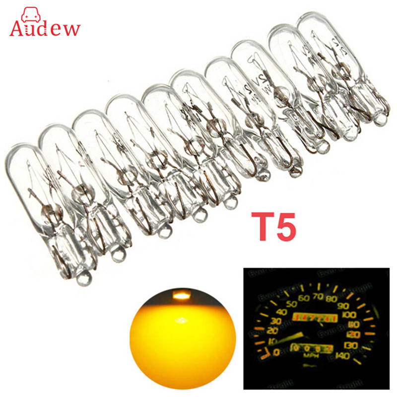 10pcs 12V 1.2W Auto Car Instrument Gauge Meter Replacement Light Bulb Lamp For T5 286 Amber
