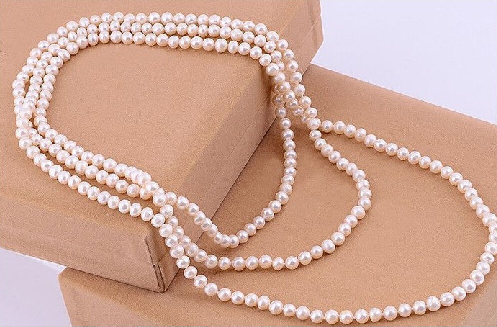 free shipping GENUINE AA 8 9 MM WHITE AKOYA PEARL NECKLACE 54 r a()
