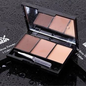 3 Color Eyebrow Powder Palette Cosmetic Brand Eye Brow Enhancer Professional Waterproof Makeup Eye Shadow With Brush Mirror Box