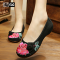 Plus size embroidered chinese shoes women fashion new sexy black lotus canves women flats shoes mary jane ladies shoes loafers