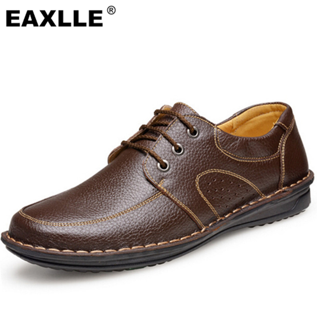 2017 New Men's High Leather Shoes Lace-Up Brown/Black Flats Men's Dress Shoes Super Soft Flats For Men Free Shipping