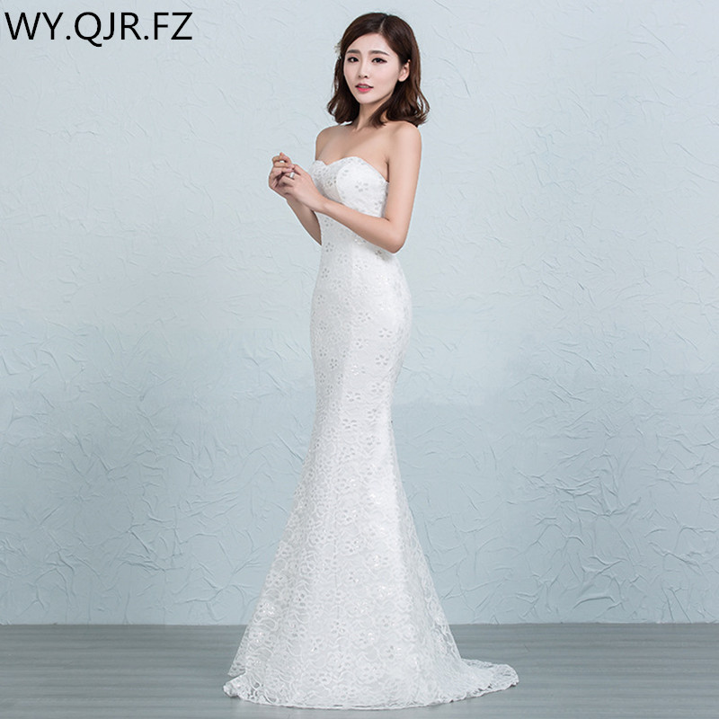 DM2670TWB Wedding dress lace up pring 2019 new fish tail sexy slim white and red long