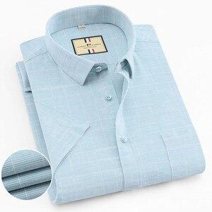 Image 2 - เนื้อหาผ้าฝ้ายแขนสั้นฤดูร้อนสบายธุรกิจผู้ชายลายสก๊อตลำลองเสื้อปกติFitเปิดลงปก