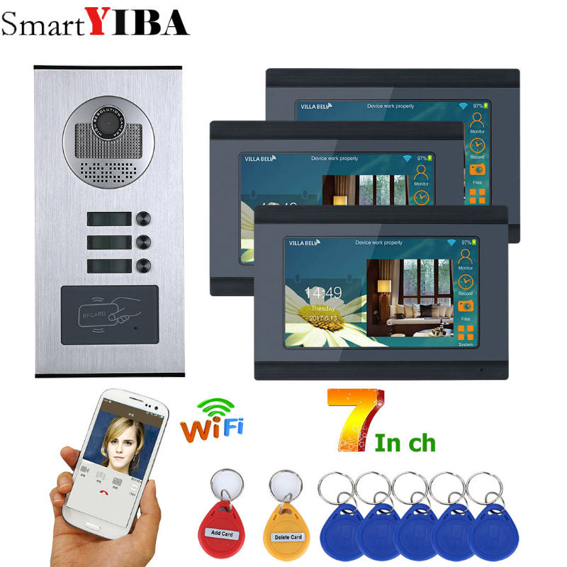 SmartYIBA 7 Inch Wired Wifi 3 Apartment Video Door Phone Intercom System RFID IR-CUT HD 1000TVL Camera Doorbell Camera