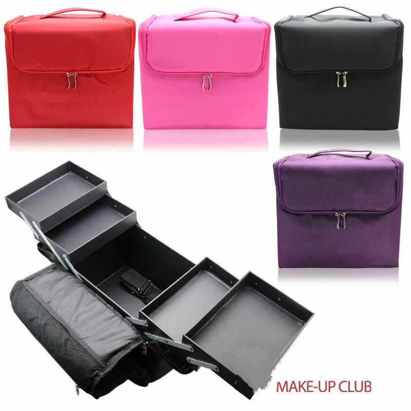 2017 Woman Nylon Makeup Bag Travel Beauty Box Toiletry Beauty Box with Inner Tray Multifunction Three Colors