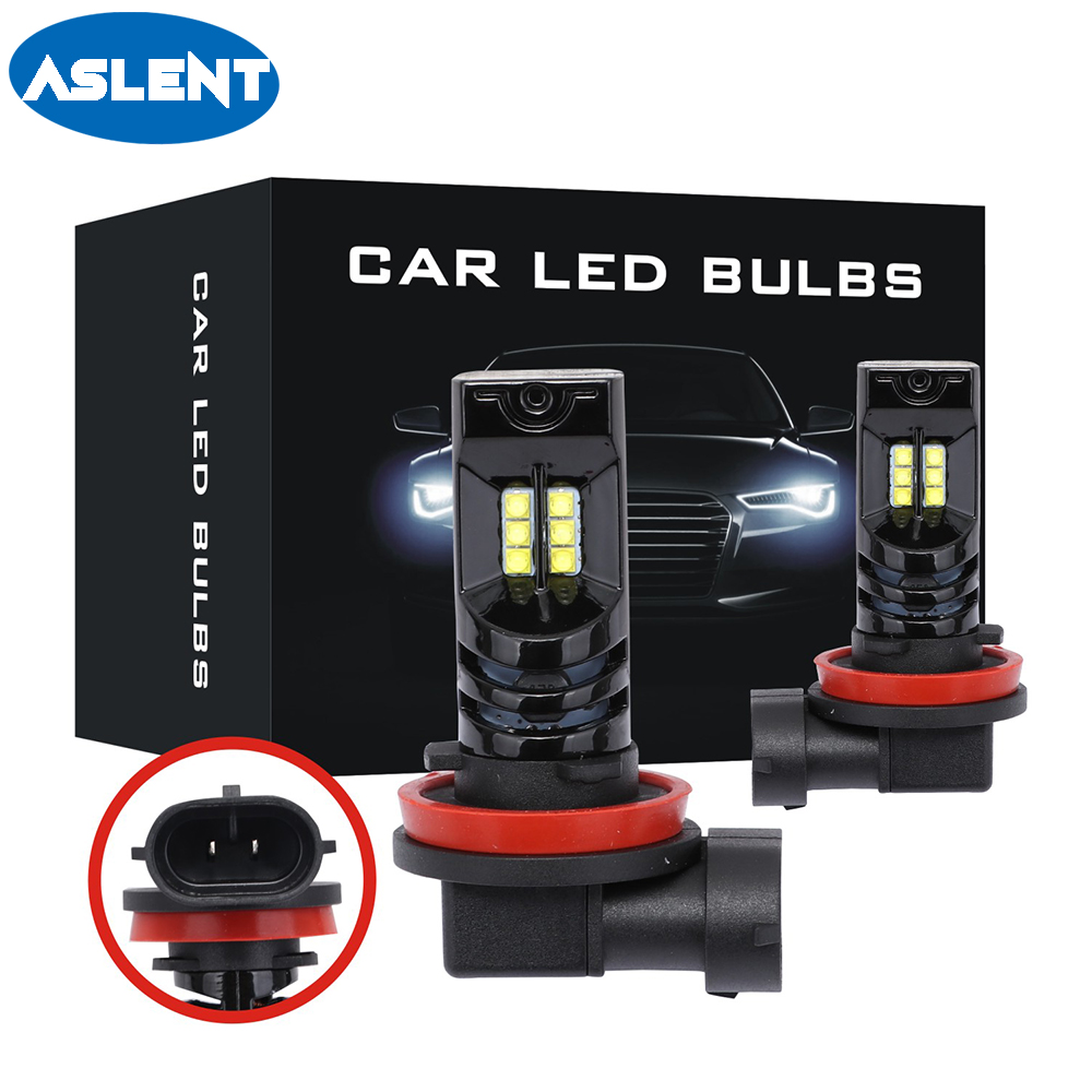ASLENT 2PCS <font><b>2000Lm</b></font> H11 H8 H9 2525 Chips LED Car Lights Bulbs 9005 HB3 9006 HB4 H4 <font><b>H7</b></font> White DRL Fog Lights 6500K 12V Driving Lamp image