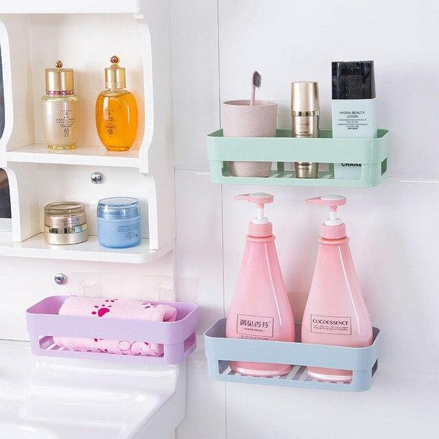 Wall Stick Type Bathroom Kitchen Corner Storage Rack Organizer Shower Shelf  Bathroom Accessories Toothbrush Holder
