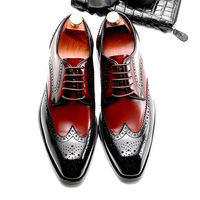 Sipriks Vintage Mens Brogues Shoes Classic Blake Oxfords Wingtip Dress Shoes Business Formal Gents Suit Gray Black Brown Lacing