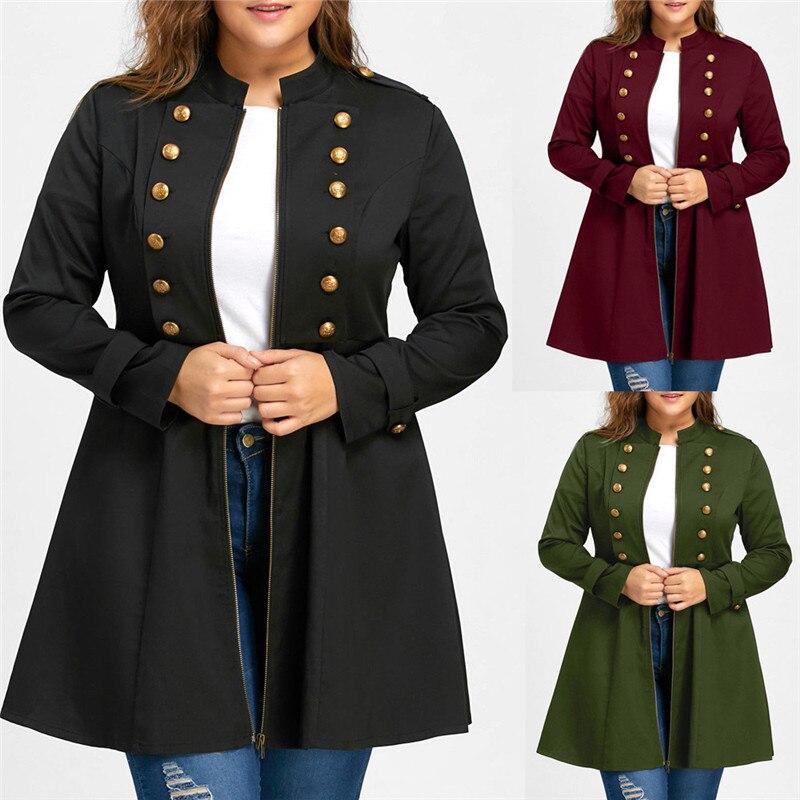 Women Fashion Plus Size Vintage Longline Coat Double Breaste