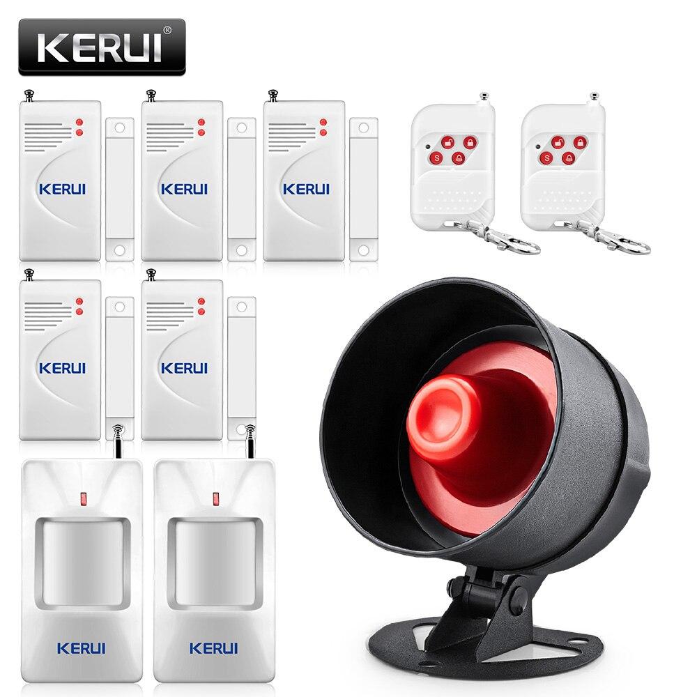 Kerui barato sistema de alarme sem fio do assaltante local sirene alto-falante segurança alarme em casa detector de movimento sensor da porta janela kit diy
