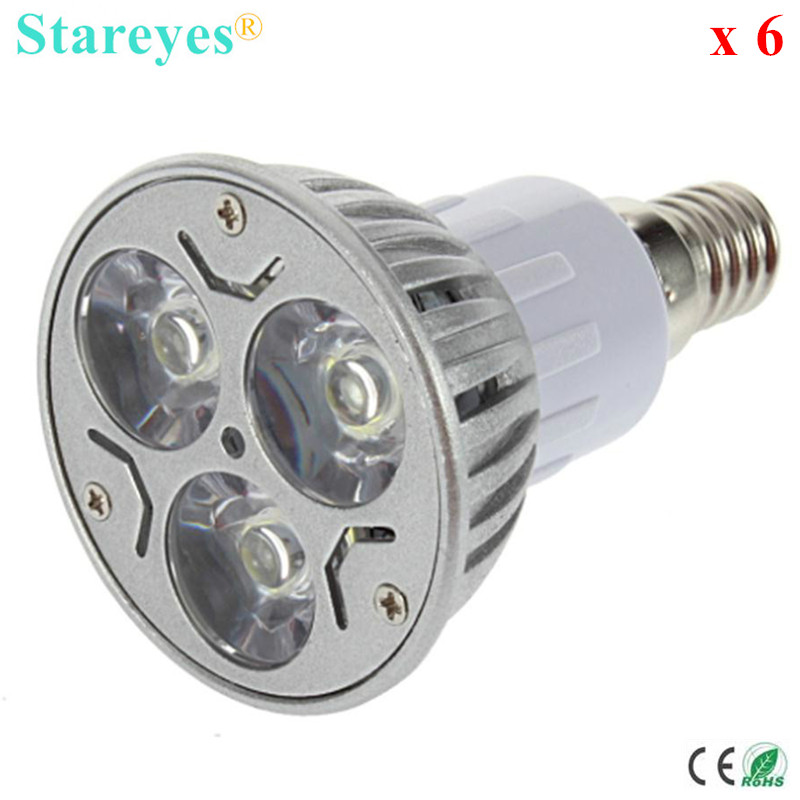 Free shipping 6 pcs Dimmable 3W E14 MR16 GU10 E27 B22 GU5.3 High Power LED Spotlight Downlight bulb droplight lamp LED Lighting