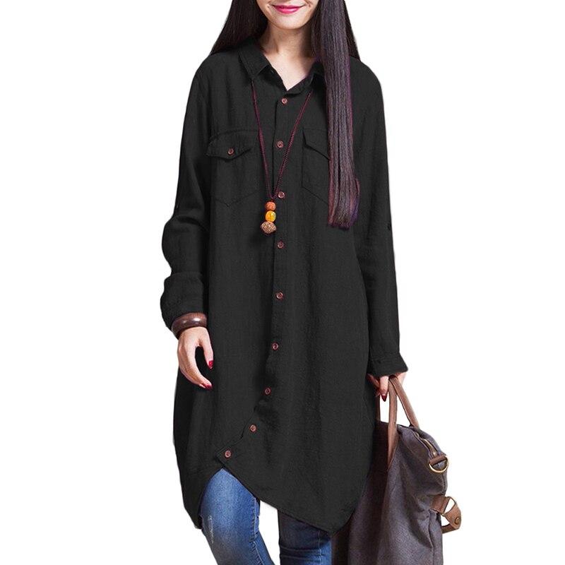 2019 Autumn Vintage Long Tops Women Blouse Shirts Irregular Hem Long Sleeves Pockets Loose Casual tunics Plus Size 3XL 4XL 5XL