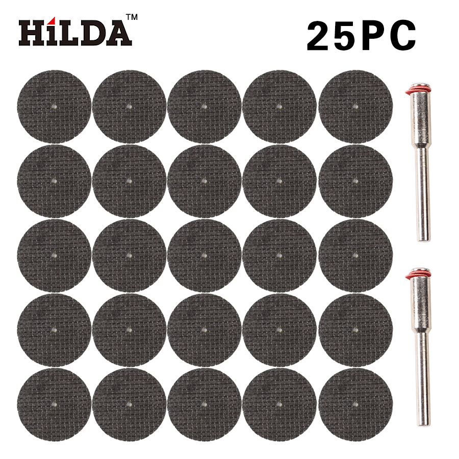 HILDA 25pcs Cut Off Wheel Disc Fiberglass Reinforced With 2 Mandrel 1/8