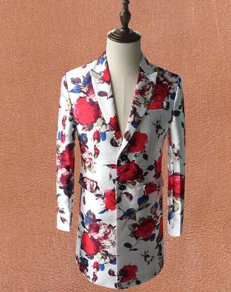 Nova magro dos homens longa jaqueta flor/festa/performance de palco/clube stuido/pode costumes tamanho/outros padrões disponíveis pls contato