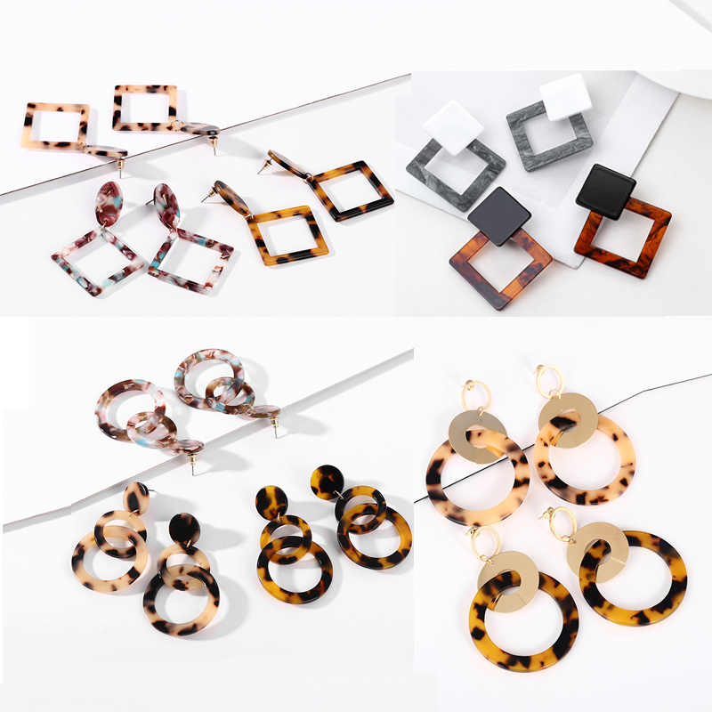 Fashion Leopard Acrylic Multiple Style Acetate Pendant Earrings For Women Long Statement Earrings Exaggerated Party Girl Jewelry
