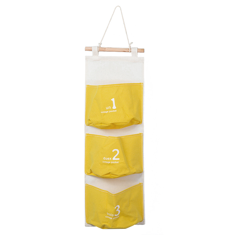 Wall Mounted 3 pocket Storage Bags bathroom kitchen supplies Fluid Systems Multilayer Pouch (yellow)