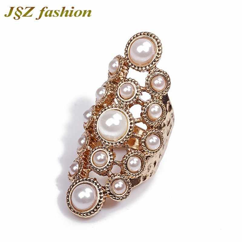 Anel de pérola vintage longo oco juntas liga anéis cor do ouro flor grande imitação pérola gem pedra anéis jóias para mulher