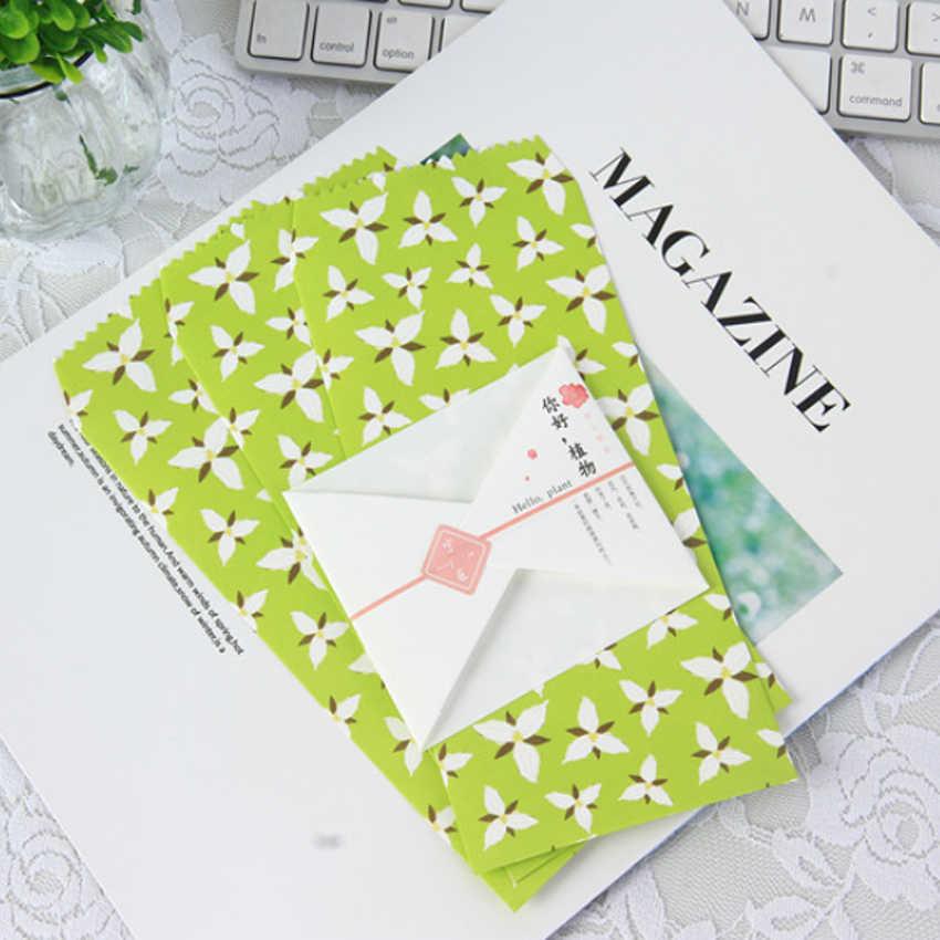 5 ชิ้น/แพ็ค Kawaii Hello พืชซองจดหมายซองจดหมายจดหมายกระดาษข้อความ Letter ซอง Office School Supply