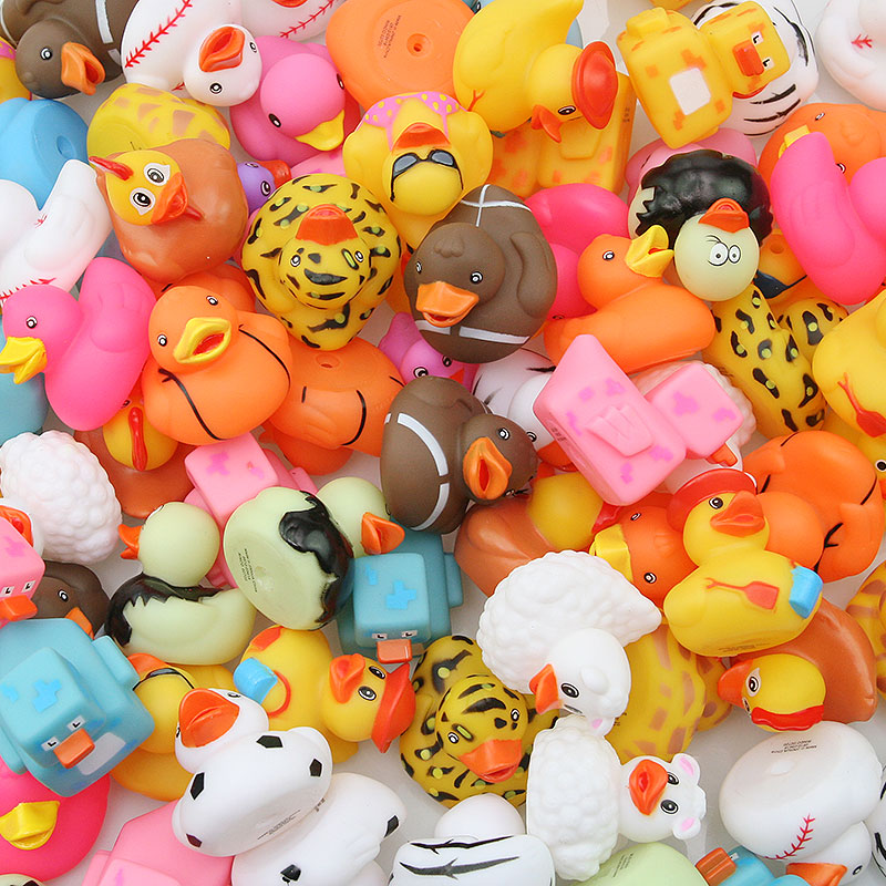 100PCS Random Rubber Duck Multi Styles Duck Baby Bath Bathroom Water Toy Swimming Pool Floating Toy Duck