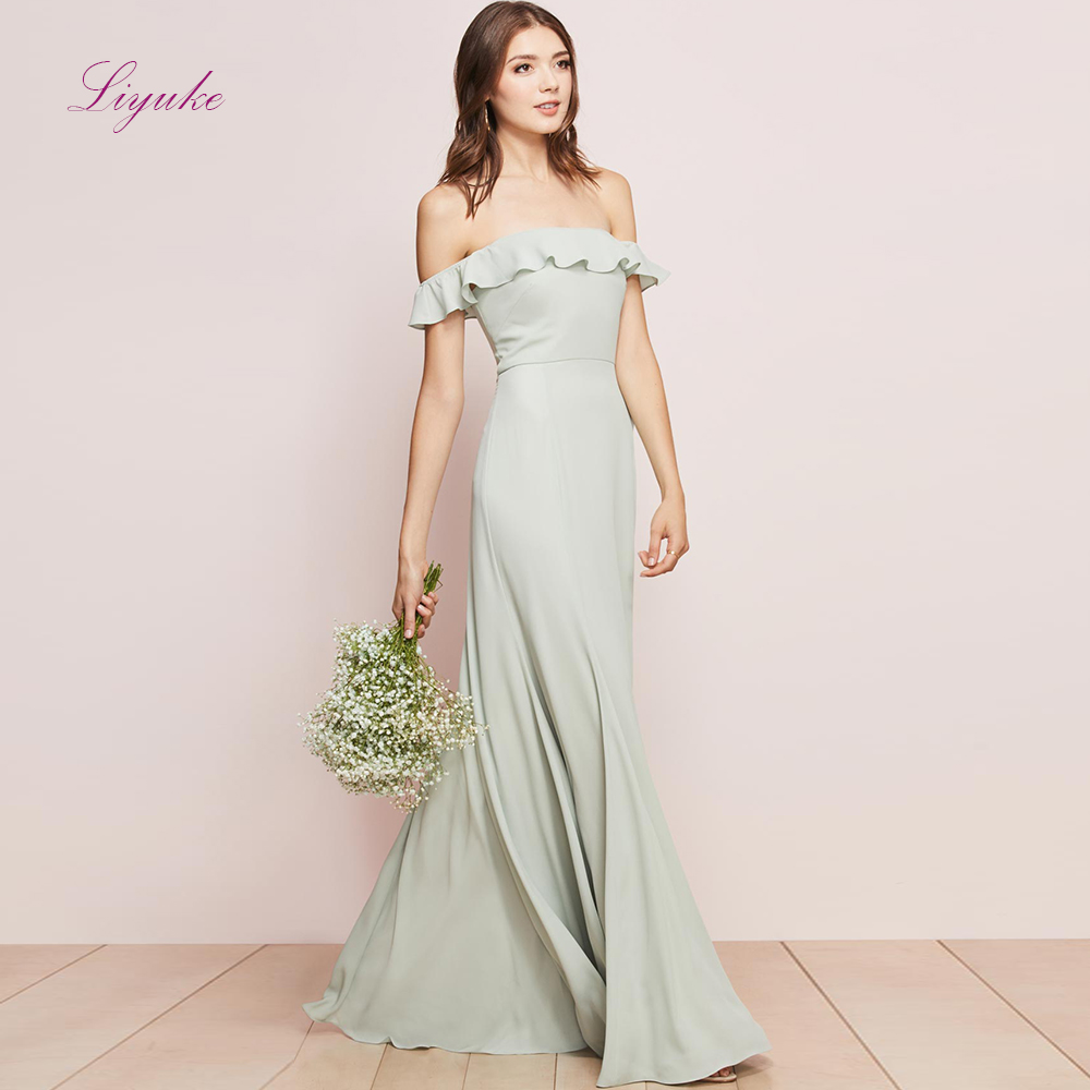 Liyuke A line   Bridesmaid     Dress   Chiffon Long   Dress   Fresh Color Off-the-shoulder Custom Made Size Free Shipping
