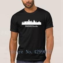 6a4f20df73126 Miami Floryda Śródmieście Skyline Sylwetkę Koszulka Klienta Funny Mężczyzna  T Koszula Z Krótkim Rękawem 2018 Plus