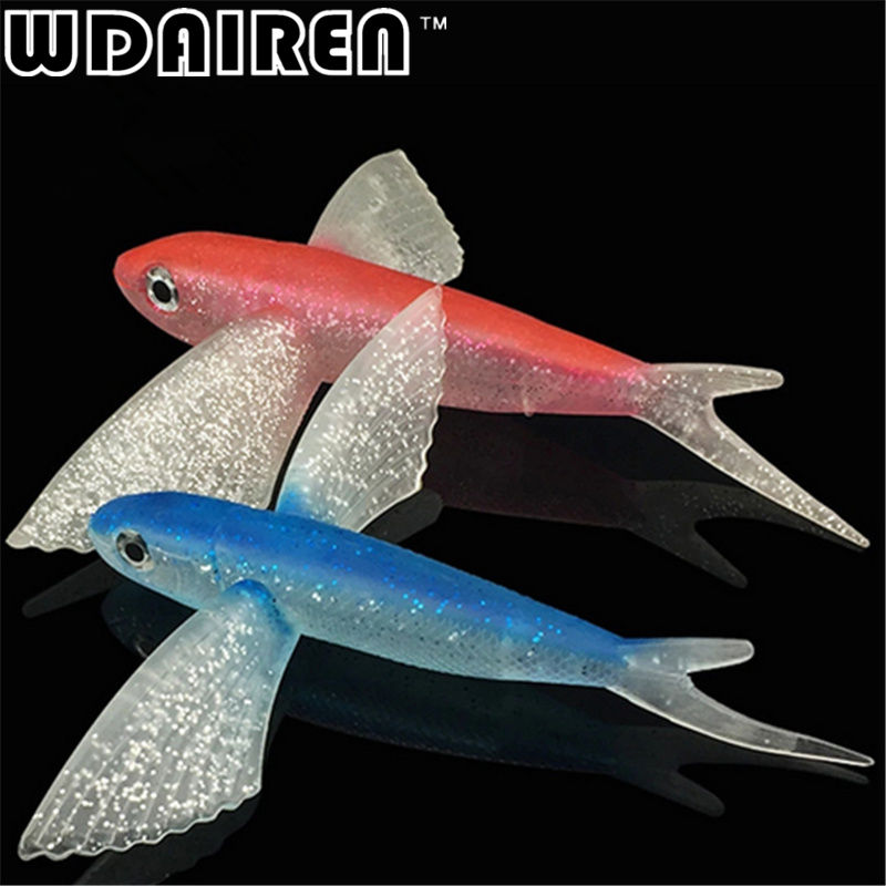 1Pcs Seawater Fishing Lure flying fish 220mm 124g Soft Bait Fishing Lure sea angling curls trolling tuna mackerel Fishing Lures rigged custom big game marlin tuna hawaiian deep sea trolling lure