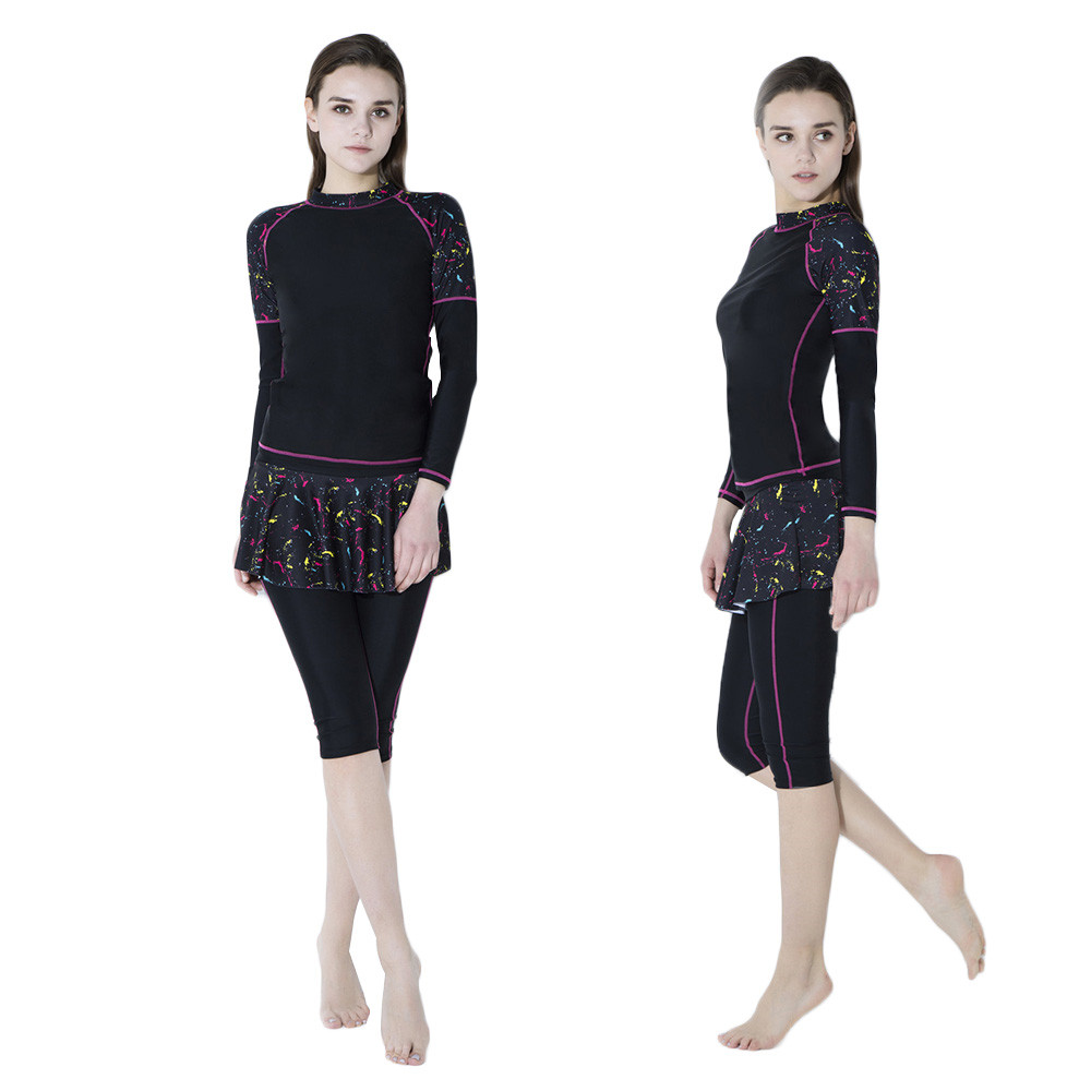 2018 Women Long Sleeve Swimwear Print Surfing Bathing -5513