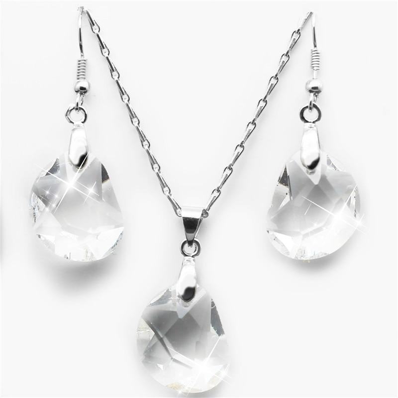 Australia Cristal frijol Colgante de joyería de moda conjuntos Collar Pendientes Envío libre de la gota encantos muchacha mujer calidad romántica linda