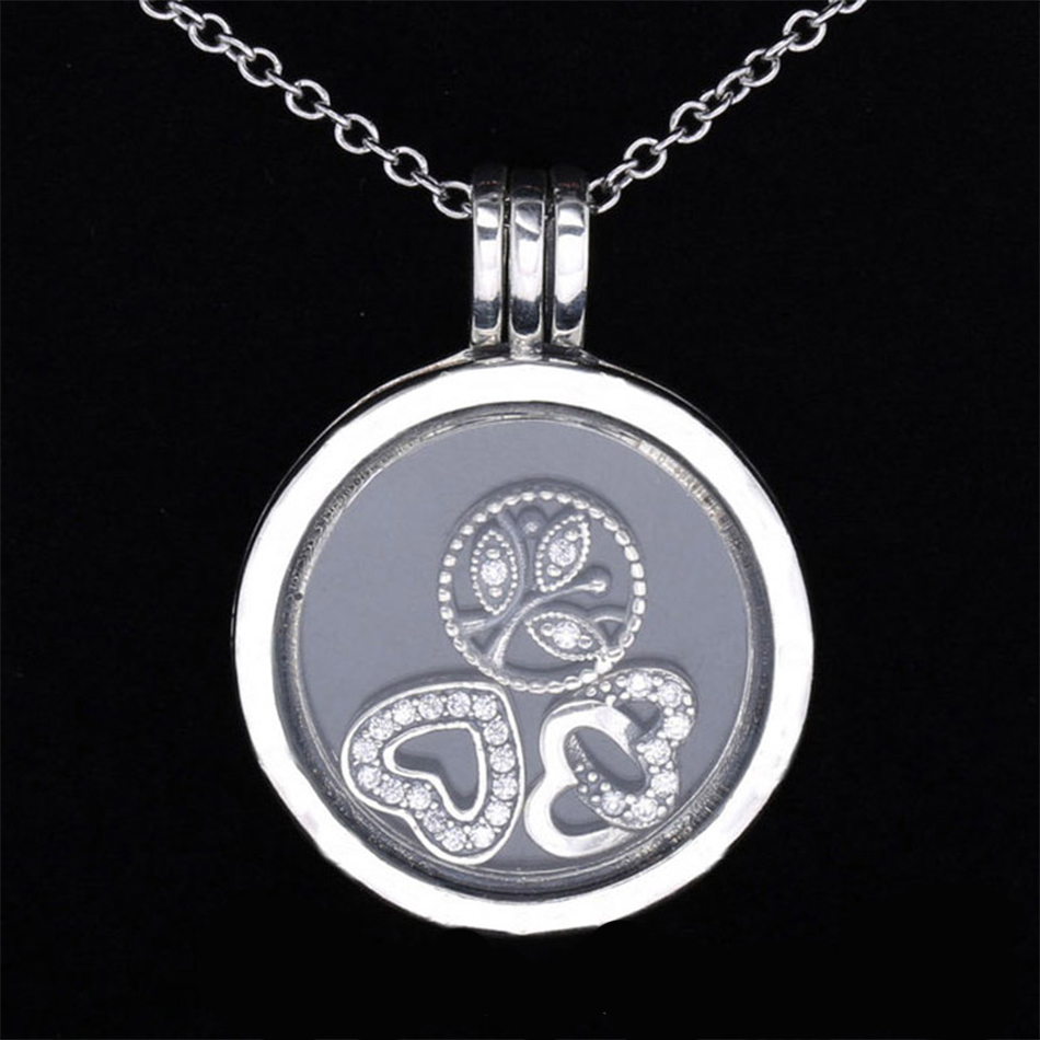 Real 925 Sterling Silver Necklace Love Heart & Family Petites Charm Locket Necklace For Women Wedding Gift Fine Jewelry vintage heart shape locket necklace for women