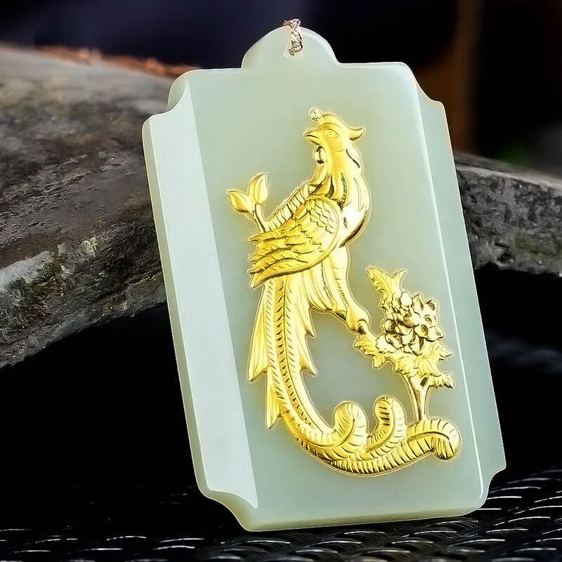 Jade chinois bijoux femmes chanceux amulette pendentif Hetian jade phoenix pendentif jade pierre bijoux Phoenix à l'instrument