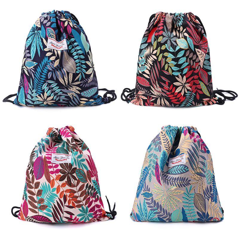 Floral Drawstring Bag Rucksacks Gym Sack Pack Book Bags For Yoga Gym Travel Beach Bag