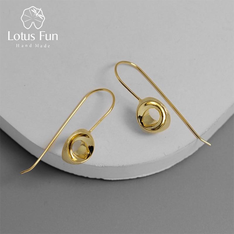 Lotus Fun Real 925 Sterling Silver Creative Designer Fine Jewelry Minimalism Stereoscopic Semicircle Dangle Earrings For Women