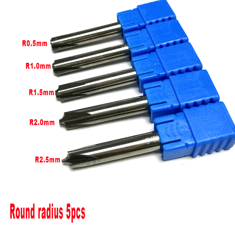5 unids/set 4 flautas R0.5 y R1.0 y R1.5 y R2.0 y R2.5 de HRC50 esquina redondeo final molino para uso General 2mm radio de aluminio