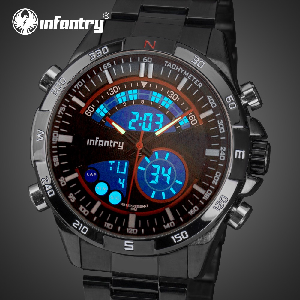 INFANTRY Mens Watches Top Brand 2018 Analog Digital Military Watch Men Army Watches for Men Red Black Clock Relogio Masculino