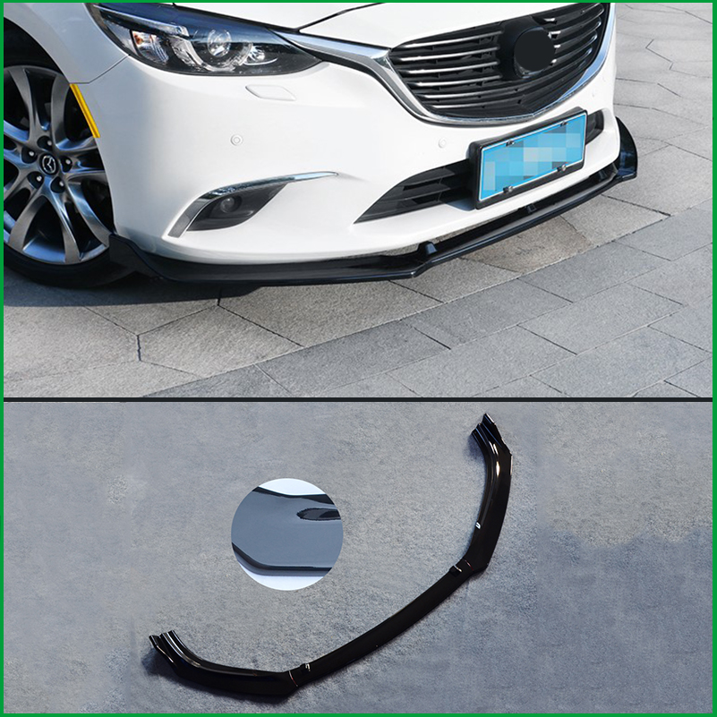 Car Styling For Mazda 6 M6 Atenza 2014-2017 Front Bumper Lower Grille Protector Plate Lip Cover Sticker Trim Decorative strip car styling for mazda 6 m6 atenza 2014 2017 front bumper lower grille protector plate lip cover sticker trim decorative strip