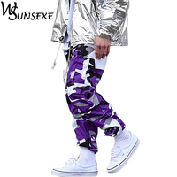 Camouflage Pants Men Women Hip Hop Joggers Pant Casual Zipper Purple Camo Cargo Trousers with Pockets Fashion Streetwear Trouser