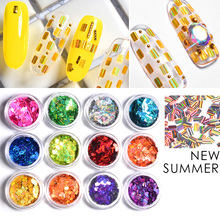 12pcs Nail Laser Sequins Set Rectangle Stripe Holographic Glitters Flakes DIY Tips