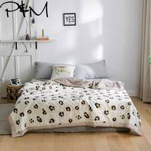Papa&Mima Leopard print Summer Comforter NO pillowcases Twin Queen Size Cotton Fabric Soft and thin Air conditioning Quilt(China)
