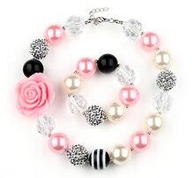 Niñas de color rosa la flor del collar fornido Beads Strand pulseras los niños Ourfit la joyería fiesta de cumpleaños mejor GiftWXS2
