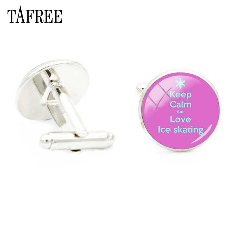 Tafree, Модные посеребренные запонки, стеклянные кабошоны для катания на льду, мужские аксессуары для рубашки, запонки, ювелирные изделия ST60
