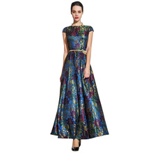 2016 M – 4XL Plus Size Vintage Women Maxi Lace Dress Summer Designer Slim Fit Flare Slash Neck Party Long Dresses Robe Ete