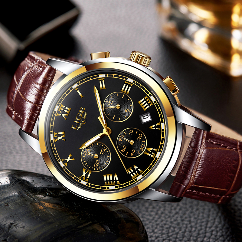 2017 new watches men luxury brand lige chronograph men sports watches waterproof leather quartz for Celebrity watches male 2017