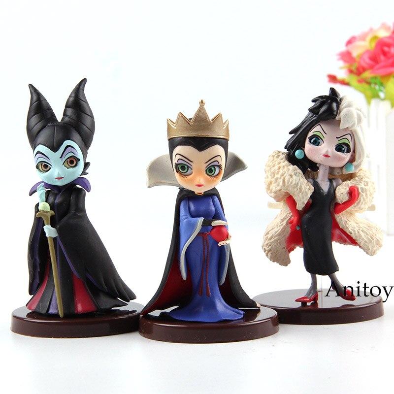 Q Posket Characters Snow White Evil Queen 101 Dalmatians Cruella De Vil Sleeping Beauty Maleficent QPosket Figures Toys 3pcs/set