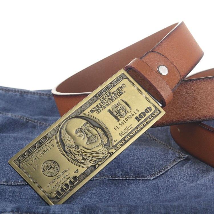 US dollar buckle PU leather belt big bucs